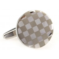 Brown And Silver Round Cufflinks