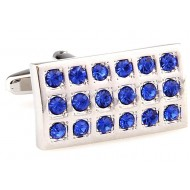 Blue Retangular Diamond Cufflinks
