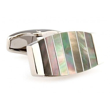 Multi-Colored Stripe Mother Of Pearl Cufflinks