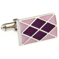 Pink And Purple Enamel Cufflinks