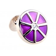 Purple Flower Diamond Cufflinks