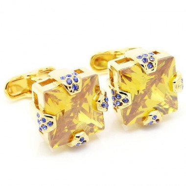 Luxury Gold and Blue Diamond Cufflinks