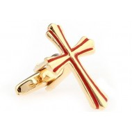 Red And Gold Cross Cufflinks