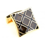 Black and Gold Square Cufflinks